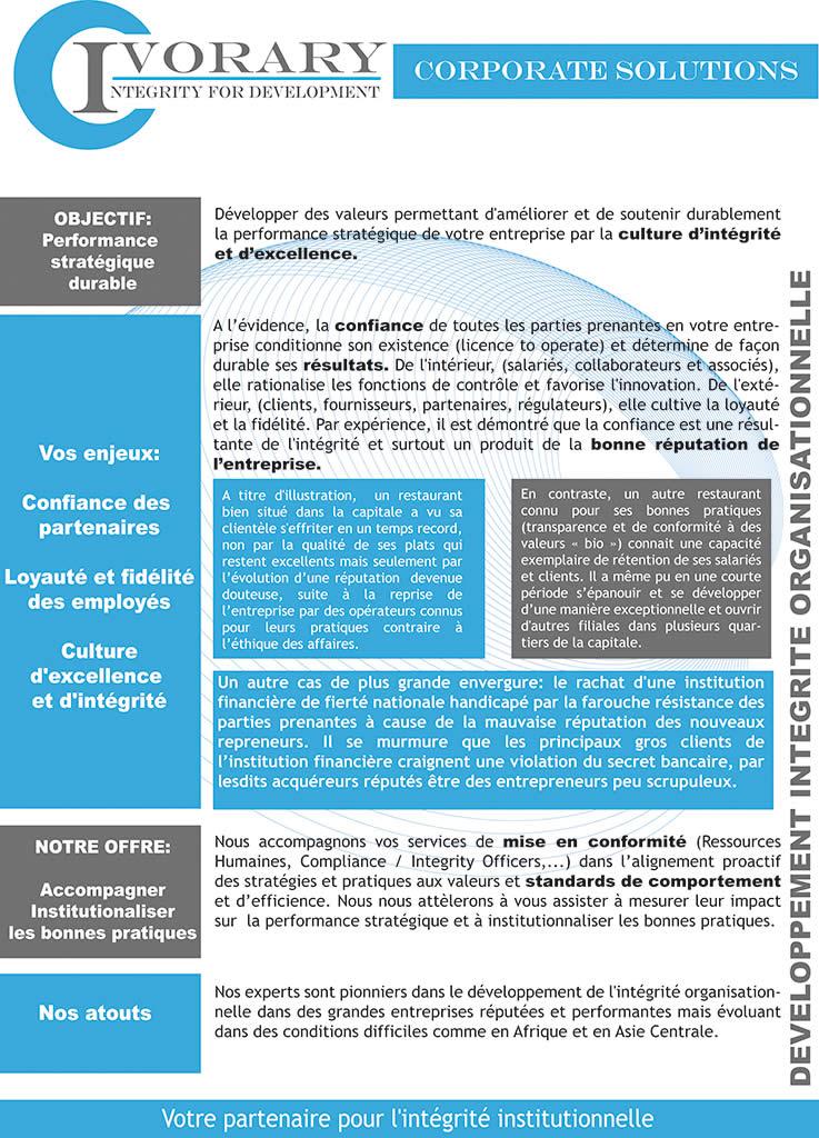 Ivorary Développement d'integrité organisationnelle