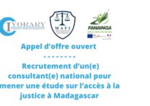 Appel d'offre ouvert – Recrutement d'un(e) consultant(e) national pour mener une étude sur l'accès à la justice à Madagascar
