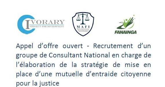 Appel d'offre ouvert – Recrutement d'un groupe de Consultant National en charge de l'élaboration de la stratégie de mise en place d'une mutuelle d'entraide citoyenne pour la justice